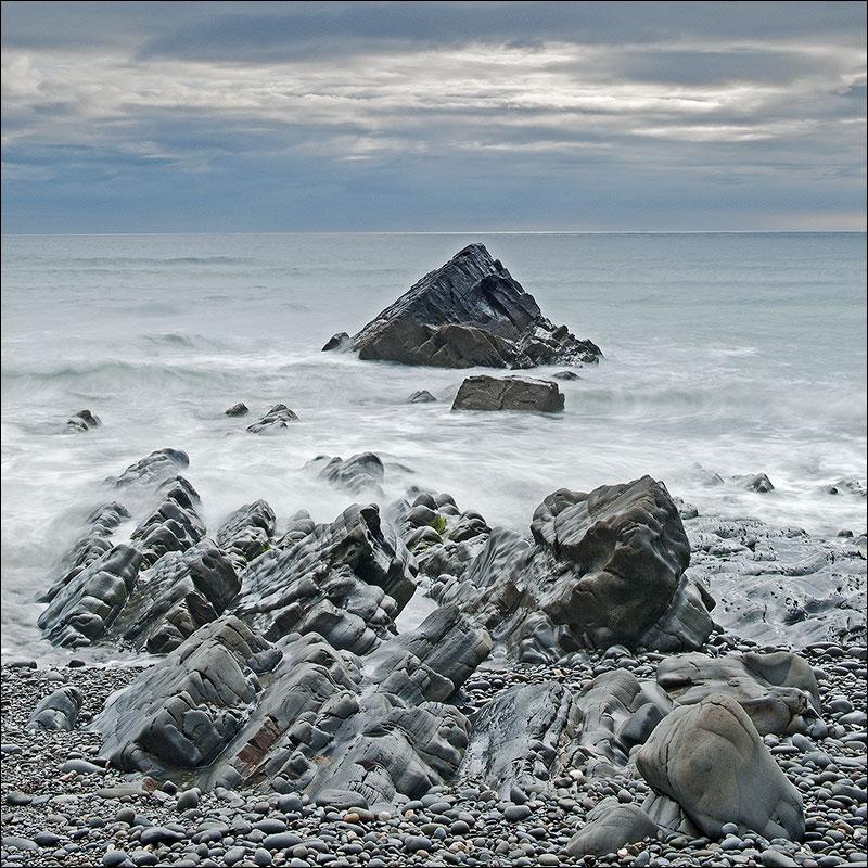 The rocky shore line