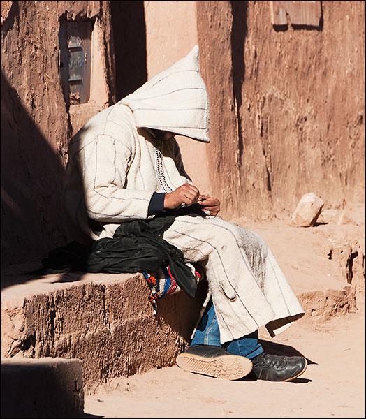 Villager at rest.