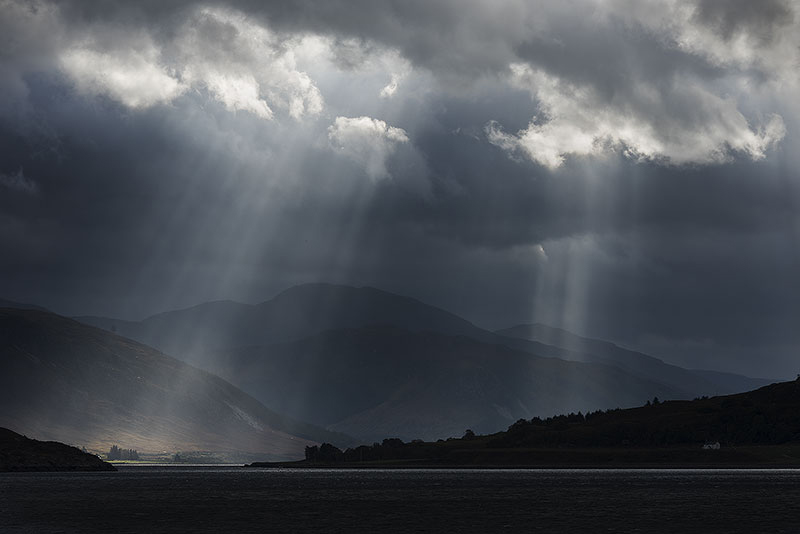 Sun beams over Loch Broom, Ullapool
