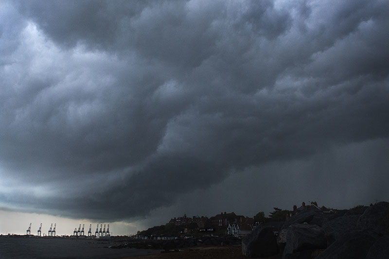 Storm over Felixstowe harbour