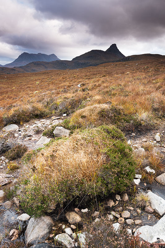 Towards Stac Pollaidh and Suilven