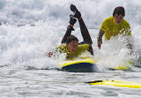 French boys with The Jersey Language Adventure School learning to surf 2015
