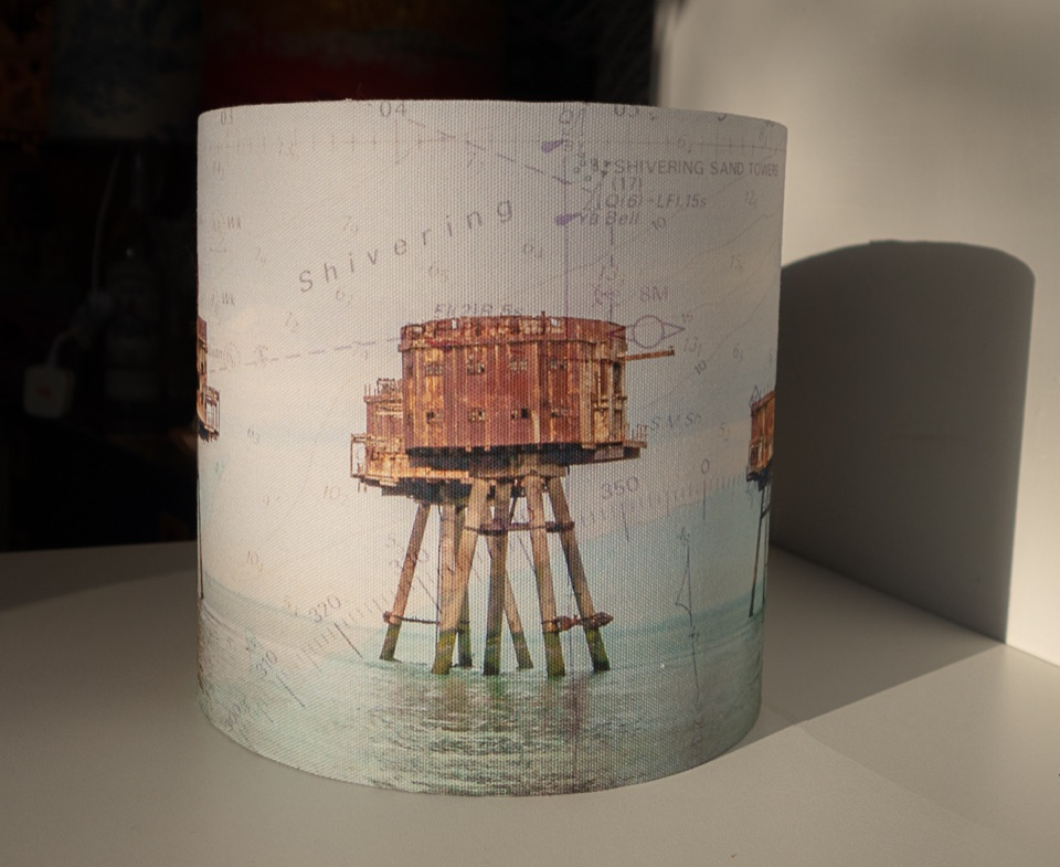 Lampshade - Red Sands with Sea Chart