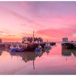 Whitstable Harbour - pink reflected