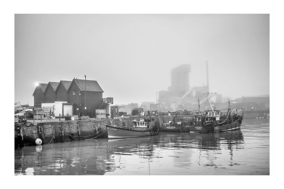 Fog descending. The Harbour & Bretts. Whitstable 2021
