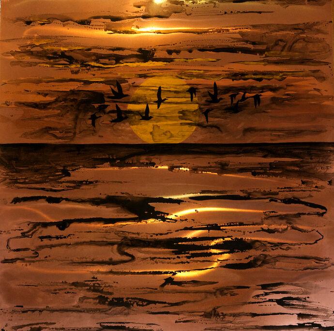 Moonriver Triptych an original painting