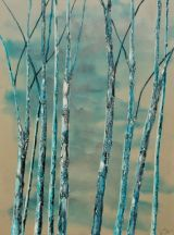 Blue Birch acylic on canvas 90 x 120 cms