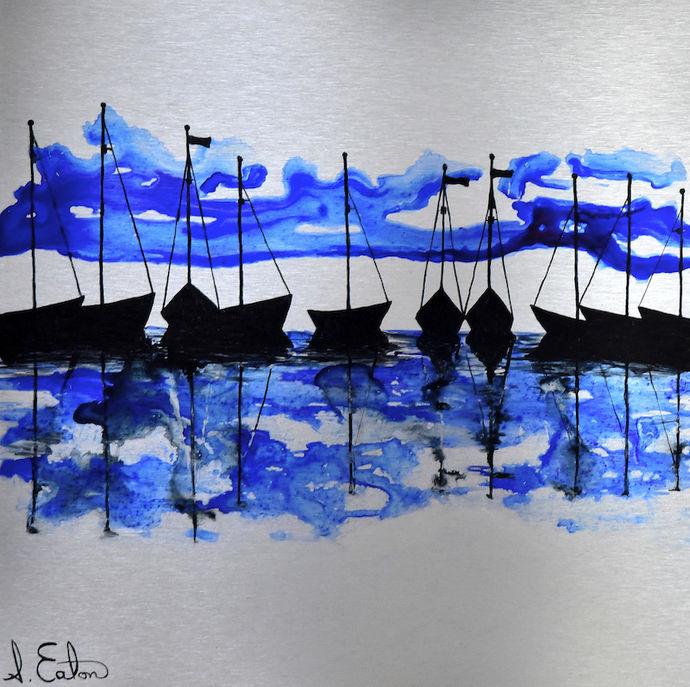 Blue Water   ink on aluminium 40 x 40 cms