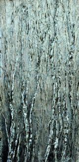 Silver Birches Acrylic on board.  Framed 100 x 53cm