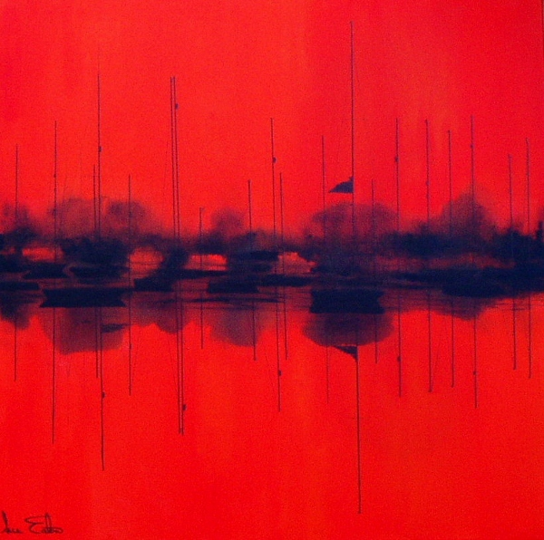 Moorings and Masts  acrylic on canvas