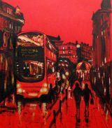 On the Buses   acrylic on card