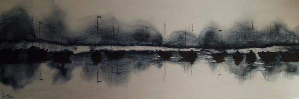 Moonlight Moorings  acrylic on canvas 183/60cm