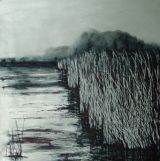Alde River Reeds Snape 100 x 100 cms on canvas