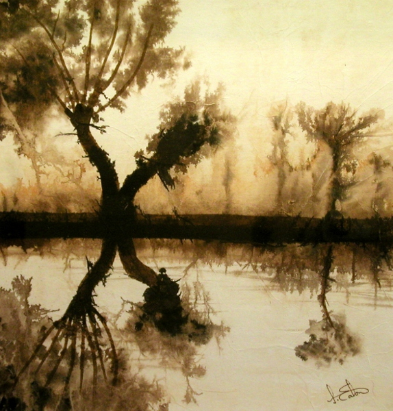 Reflection at Dedham  watercolour on tissue