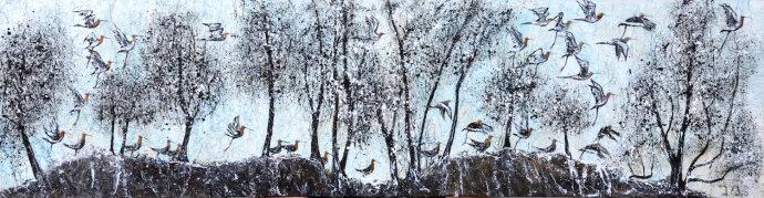 "Rocky River Run  Acrylic ink on textured canvas 5' x 1'6"""