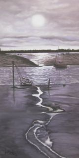 Tide Out Woodbridge  pastel on paper