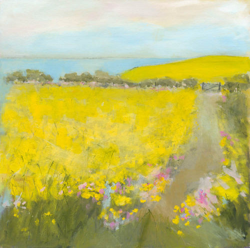 Yellow field by the sea