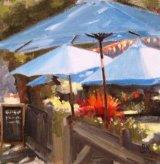 Parasols at Molesey Lock cafe