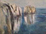 Gannets over Old Harry Rocks