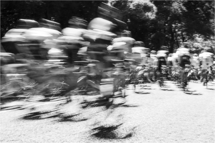 Cyclists Returning Monochrome