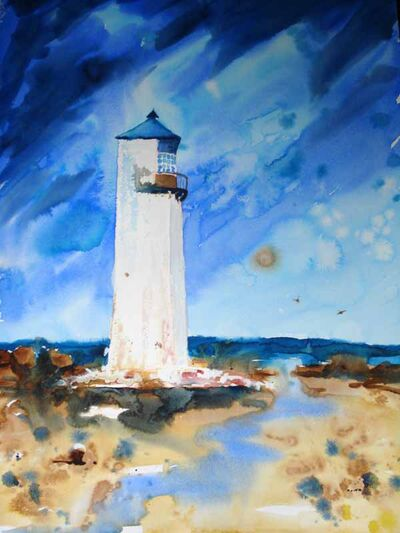Light house water colour painting,Southerness, Scotland