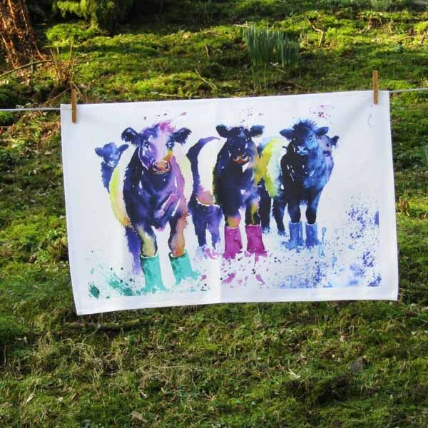 Belties with welly boots on, tea towel hand painted design by Susan Metcalfe art