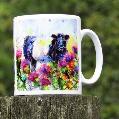 Beltie with thistles mug