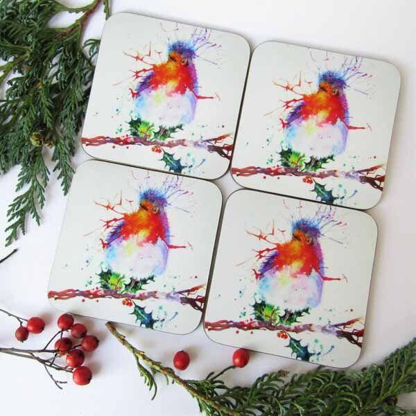 Christmas robin coaster gift set