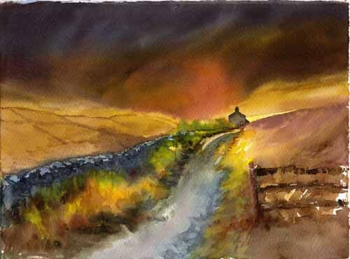 painting of a cottage along a track with a stormy sky behind by Susan Metcalfe Art