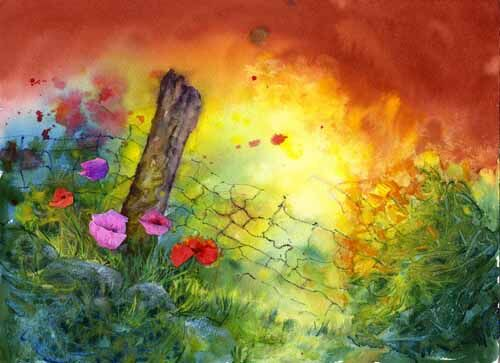painting of flowers by an old post by Susan Metcalfe Art