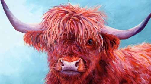 painting of a brown highland cow by Susan Metcalfe Art