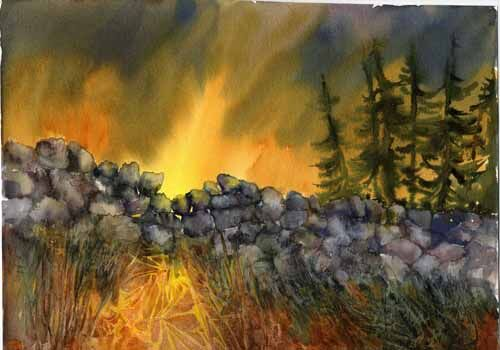 painting of a stone dyke with dramatic sky behind it by Susan Metcalfe Art