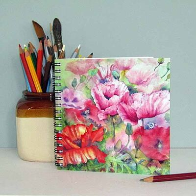 notebook with poppy flowers