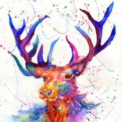 Stag painting,bright colours, splashy art
