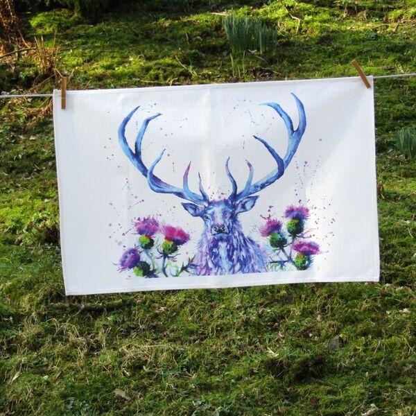 Scottish stag tea towel