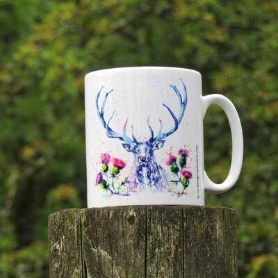 Stag and thistles mug
