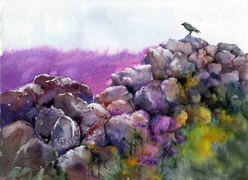painting of stone dyke with heather and a bird by Susan Metcalfe Art