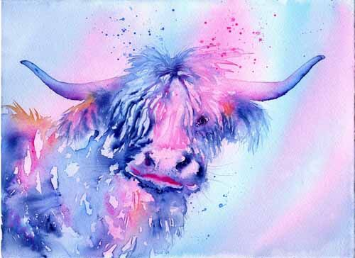 water colour painting of a highland cow in blue by Susan Metcalfe Art