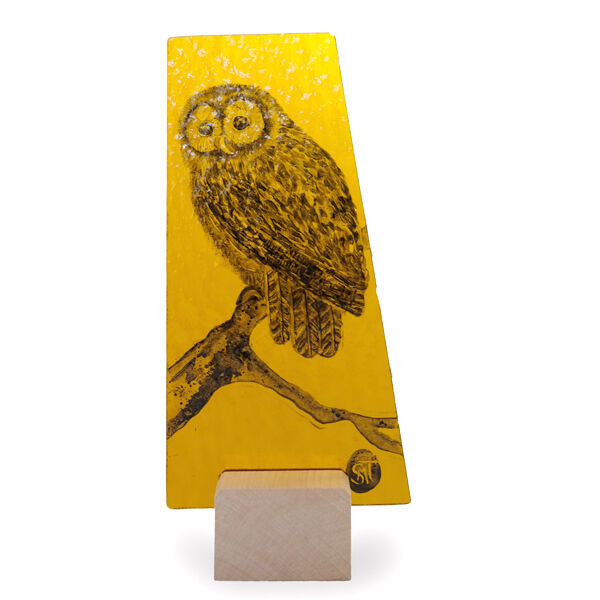 Owl on amber. 100mm x 220mm £50