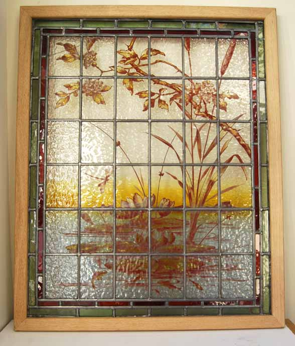 Restored panel, glass repaired and border extended and framed.