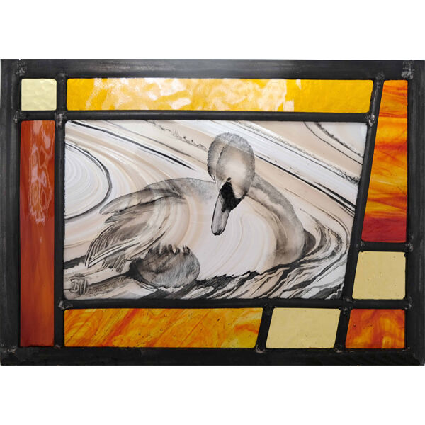 Swan leaded panel 290mm x 210mm £150