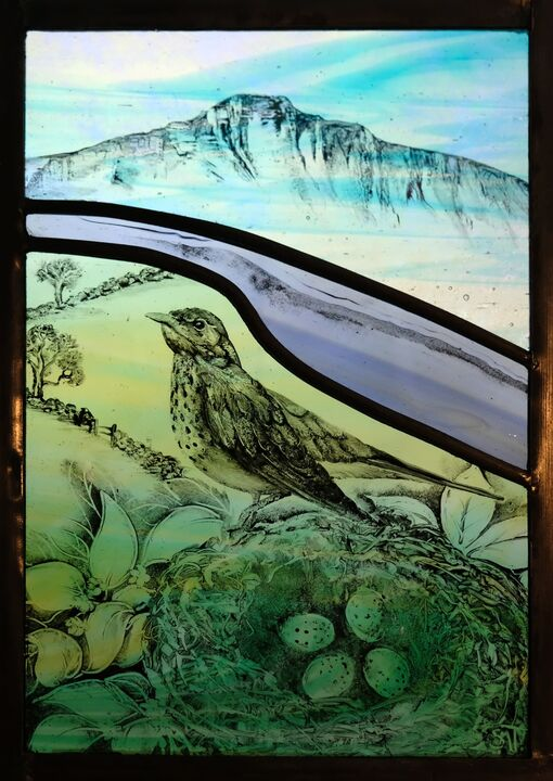 Thrush on a nest,with Pen y Fan behind.SOLD