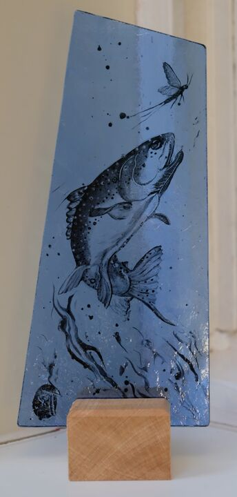 Trout rising. 100mm x 220mm £50
