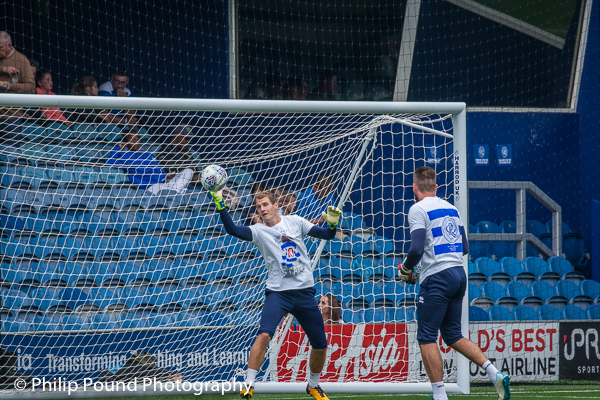 QPR Goalkeeper Alex Smithies makes a save in training