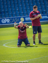 Ian Holloway pays homage to the QPR fans. With Marc Bircham