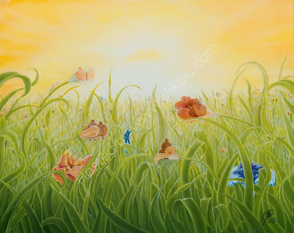 Iris Sunrise(oil on canvas) 80cm X 100cm