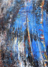 Variable Blue (Mixed Media) Gallery Wrapped Canvas 70cm x 50cm X 1.8cm