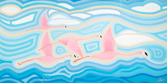 Flamingos In Flight (Oil On Boxed Canvas)61.5cm X 122cm X 3.5cm)..*FOR SALE*