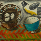 French Country Dish and Felt Bird