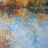 Floating leaves   oil on canvas 60 x 60cms